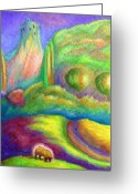 Tor Painting Greeting Cards - Pastoral With Glowing Sheep Greeting Card by Jane Tripp