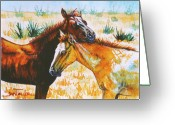 Equines Painting Greeting Cards - Pasture Buddies Greeting Card by Jan Taylor