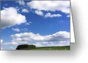Horizon Over Land Greeting Cards - Pasture in Auvergne Greeting Card by Bernard Jaubert