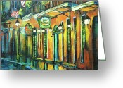 New Orleans Artist Greeting Cards - Pat O Briens Greeting Card by Dianne Parks