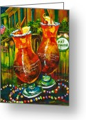 New Orleans Artist Greeting Cards - Pat OBriens Hurricanes Greeting Card by Dianne Parks