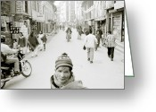 Hustle Bustle Greeting Cards - Patan In Kathmandu Greeting Card by Shaun Higson