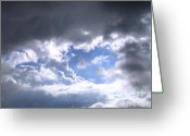 Dark Cloud Greeting Cards - Patch of Blue Greeting Card by Yali Shi