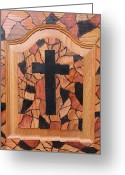 Wood Pyrography Greeting Cards - Patchwork and Cross Greeting Card by Lisa Brandel