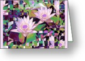 Lilly Pads Photo Greeting Cards - Patchwork Quilt Greeting Card by Karen Lewis