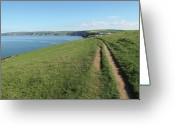 Dirt Road Greeting Cards - Path Along Coastline Port Isaac Cornwall Greeting Card by Thepurpledoor