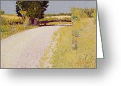 Pointillist Painting Greeting Cards - Path in the Country Greeting Card by Charles Angrand