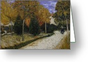 Post-impressionist Greeting Cards - Path in the Park at Arles Greeting Card by Vincent Van Gogh