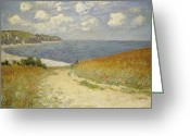 Oil On Canvas Painting Greeting Cards - Path in the Wheat at Pourville Greeting Card by Claude Monet