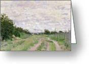 Outskirts Greeting Cards - Path through the Vines at Argenteuil Greeting Card by Claude Monet