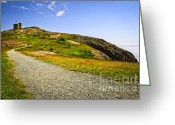 Signal Photo Greeting Cards - Path to Cabot Tower on Signal Hill Greeting Card by Elena Elisseeva