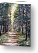 Woods Pastels Greeting Cards - Path to Enlightenment Greeting Card by Cathy Weaver