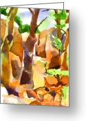 Recreation Mixed Media Greeting Cards - Pathway Through Elephant Rocks 1b Greeting Card by Kip DeVore