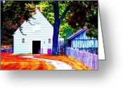 Old Country Roads Greeting Cards - Pathway To The Stables Greeting Card by Annie Zeno