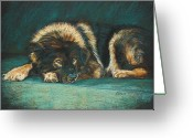 Dog Prints Pastels Greeting Cards - Patience Greeting Card by Kay Ridge