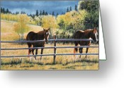 Equines Painting Greeting Cards - Patience Greeting Card by Liz Mitten Ryan