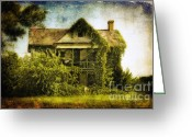 Old Abandoned House Greeting Cards - Patiently Waiting Greeting Card by Lois Bryan