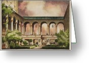  Biltmore Hotel Greeting Cards - Patio at Miami Biltmore Hotel. Coral Gables Florida 1926 Greeting Card by Schultze and Weaver