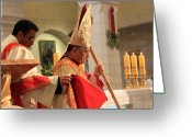 Christmas Greeting Cards - Patriarch Fouad Twal at Christmas Mass Greeting Card by Munir Alawi