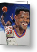 Player Mixed Media Greeting Cards - Patrick Ewing Greeting Card by Cliff Spohn
