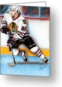 Hockey Mixed Media Greeting Cards - Patrick Kane Greeting Card by Dave Olsen