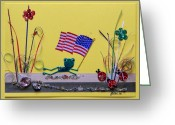 4th July Greeting Cards - Patriot Frog Greeting Card by Gracies Creations