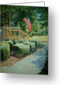 Patriotism Painting Greeting Cards - Patriot Next Door Greeting Card by Shirley Braithwaite Hunt
