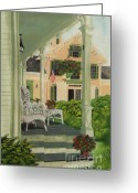 Hanging Baskets Greeting Cards - Patriotic Country Porch Greeting Card by Charlotte Blanchard