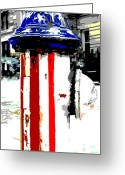 Red White And Blue Mixed Media Greeting Cards - Patriotic Fire Hydrant Greeting Card by Anahi DeCanio