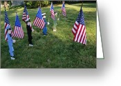 National Flag Greeting Cards - Patriotic Lawn Ornaments Represent Greeting Card by Stephen St. John