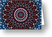 4th July Digital Art Greeting Cards - Patriotic Mandala Greeting Card by Joy McKenzie