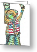 Flag Drawings Greeting Cards - Patriotic Peace Greeting Card by Robert Wolverton Jr