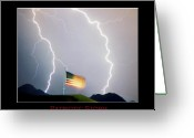 Lightening Storm Greeting Cards - Patriotic Storm - Poster Print Greeting Card by James Bo Insogna