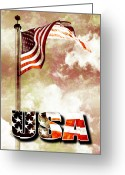 4th July Digital Art Greeting Cards - Patriotism the American Way Greeting Card by Phill Petrovic