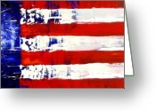 Red White And Blue Mixed Media Greeting Cards - Patriots Theme Greeting Card by Charles Jos Biviano