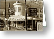 South Philly Greeting Cards - Pats King of Steaks - Philadelphia Greeting Card by Bill Cannon
