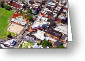 Aerials Greeting Cards - Pats King of Steaks and Genos Steaks South Philadelphia 4542 Greeting Card by Duncan Pearson