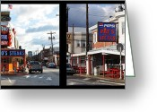 South Philly Greeting Cards - Pats vs Genos South Philly Cheese Steaks  Greeting Card by Bill Cannon