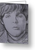 Paul Mccartney Drawings Greeting Cards - Paul  Greeting Card by Amanda Li