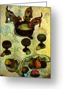 Beach Photographs Greeting Cards - Paul Gauguin Still Life with Three Puppies 1888  Greeting Card by Pg Reproductions