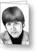 Celebrities Drawings Greeting Cards - Paul McCartney 1965 Greeting Card by Sheryl Unwin
