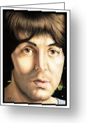 Celebrities Drawings Greeting Cards - Paul McCartney 1968 Greeting Card by Sheryl Unwin