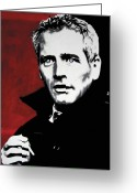 Ludzska Greeting Cards - Paul Newman Greeting Card by Luis Ludzska