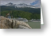 Pause In Wonder At Cruise Ships In Alaska Greeting Cards - Pause in Wonder at Cruise Ships in Alaska Greeting Card by John Haldane