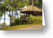 Outdoor Canopy Greeting Cards - Pavilion in mist Greeting Card by Anek Suwannaphoom