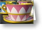 Amusement Ride Greeting Cards - Pavilion Tea Cups Greeting Card by Kelly Mezzapelle