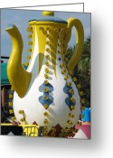 Amusement Ride Greeting Cards - Pavilion Teapot Greeting Card by Kelly Mezzapelle