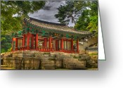Gabor Pozsgai Greeting Cards - Pavillon at Gyeongbokgung Palace South Korea Greeting Card by Gabor Pozsgai