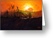 Sea Oats Digital Art Greeting Cards - Pawleys Island Sunrise Greeting Card by Alan Sherlock