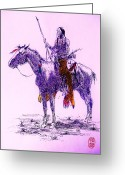  Tribal Prints Greeting Cards - Pawnee Brave Greeting Card by Roberto Prusso